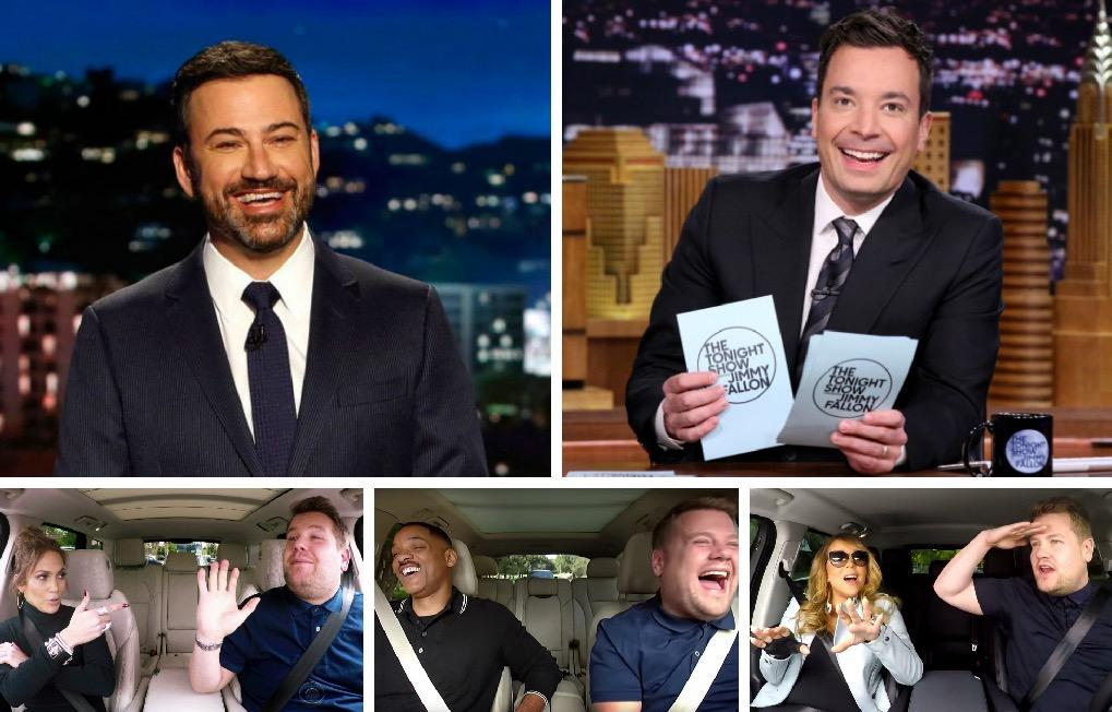 Jimmy Kimmel, Jimmy Fallon, James Corden,... maîtres des talk-shows US.