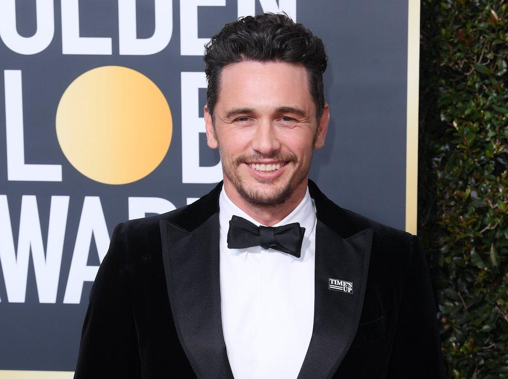 "James Franco, arborant son pin's ""Time's up"" sur le tapis rouge des ""Golden Globes"" © Isopix"